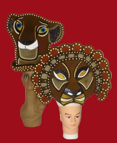 gorros de gomaespuma el rey leon musical nala y mufasa africa