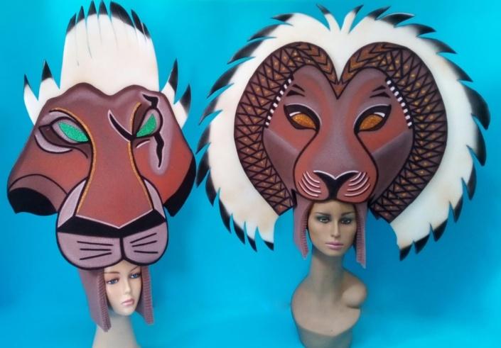 gorros de gomaespuma el rey leon musical simba y scar